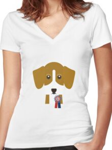 Champion Beagle Women's Fitted V-Neck T-Shirt