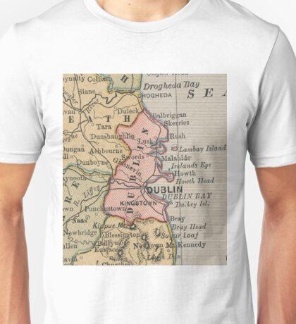 Vintage Map of Dublin Ireland (1883) Unisex T-Shirt