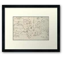 Vintage Map of The World Whaling Grounds (1880) Framed Print