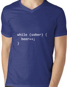 While Sober Do Beer - White Mens V-Neck T-Shirt