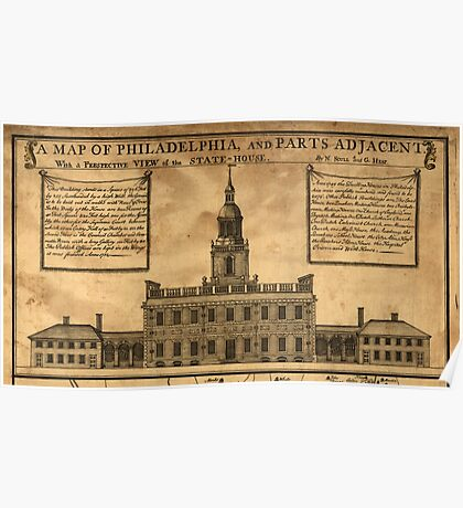 Vintage Illustration of Independence Hall Poster