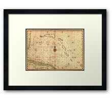 Vintage Map of The Bahamas (1650) Framed Print