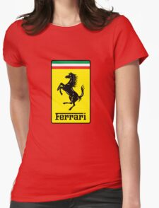 Ferrari Logo Womens Fitted T-Shirt