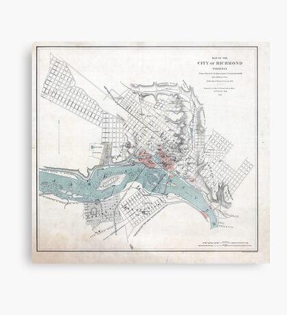 Vintage Map of Richmond Virginia (1864) Metal Print