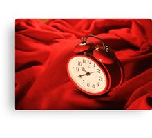 Red Alarm Clock 2 - Macro Photography Canvas Print