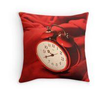 Red Alarm Clock 2 - Macro Photography Throw Pillow