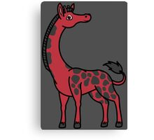 Red Giraffe with Black Spots Canvas Print