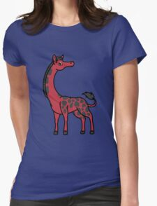 Red Giraffe with Black Spots Womens Fitted T-Shirt