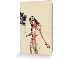 At the beach - sexy hula girl Greeting Card