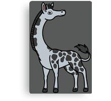 Silver Giraffe with Black Spots Canvas Print