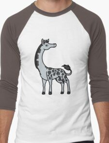 Silver Giraffe with Black Spots Men's Baseball ¾ T-Shirt