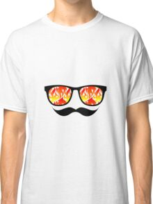 Trendy Flames Shades Sunglasses and Mustache Classic T-Shirt