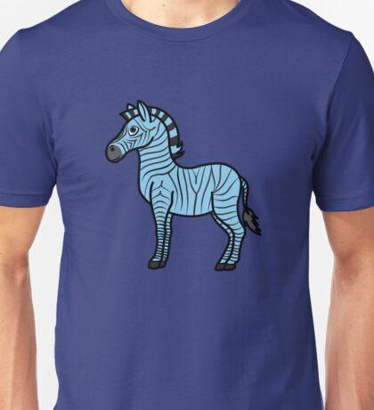 Light Blue Zebra with Black Stripes Unisex T-Shirt