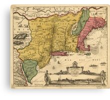 Vintage Map of New England (1685) Canvas Print