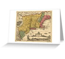 Vintage Map of New England (1685) Greeting Card