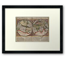 Vintage Map of The World (1587) Framed Print