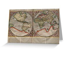 Vintage Map of The World (1587) Greeting Card