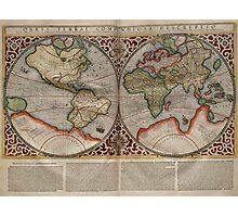 Vintage Map of The World (1587) Photographic Print