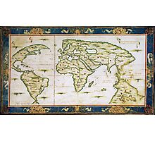 Vintage Map of The World (1566) Photographic Print