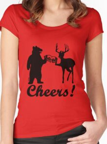 Bear, deer, beer, & cheers Women's Fitted Scoop T-Shirt