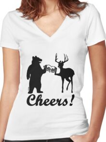 Bear, deer, beer, & cheers Women's Fitted V-Neck T-Shirt