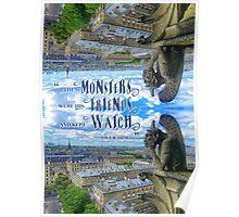 Monsters Were His Friends Notre-Dame Paris Gargoyle Poster