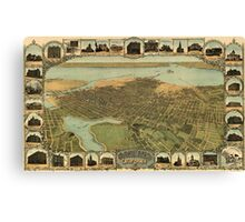 Vintage Pictorial Map of Oakland California (1900)  Canvas Print