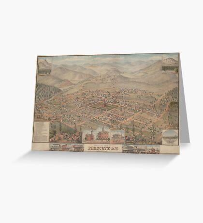 Vintage Pictorial Map of Prescott Arizona (1885) Greeting Card