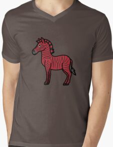 Red Zebra with Black Stripes Mens V-Neck T-Shirt