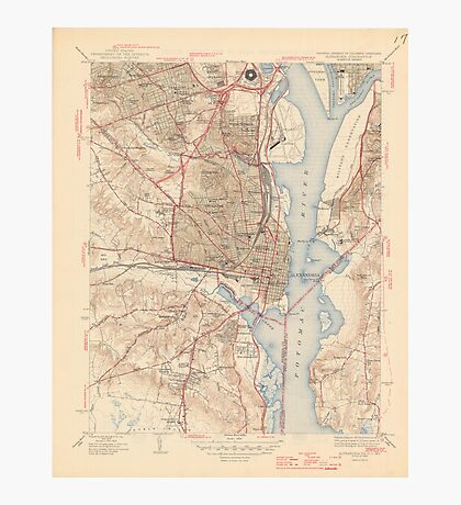 Vintage Map of Alexandria Virginia (1945) Photographic Print