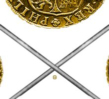Gold Coins And Crossed Swords Sticker