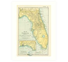 Vintage Map of Florida (1891) Art Print