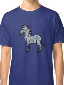 Silver Zebra with Black Stripes Classic T-Shirt