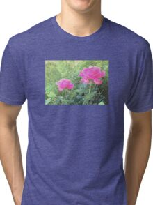 Vintage Photo Pink Rose Garden Tri-blend T-Shirt