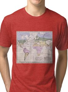 Vintage World Climate Map (1823) Tri-blend T-Shirt