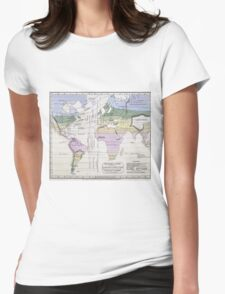 Vintage World Climate Map (1823) Womens Fitted T-Shirt
