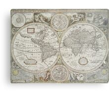Vintage Map of The World (1651) Metal Print