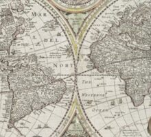 Vintage Map of The World (1651) Sticker