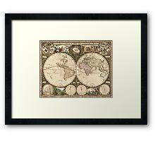 Vintage Map of The World (1660) Framed Print