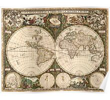 Vintage Map of The World (1660) Poster