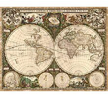 Vintage Map of The World (1660) Photographic Print
