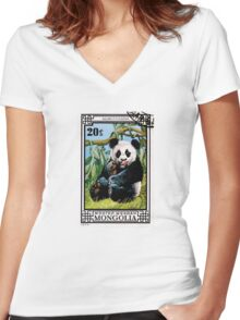 Panda Bear 1974 Postage Stamp Mongolia  Women's Fitted V-Neck T-Shirt