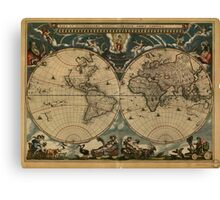 Vintage Map of The World (1664) Canvas Print