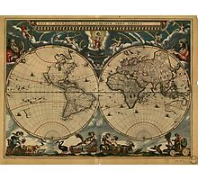 Vintage Map of The World (1664) Photographic Print