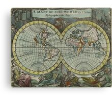 Vintage Map of The World (1682) Canvas Print
