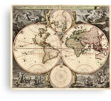 Vintage Map of The World (1690) Canvas Print