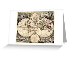 Vintage Map of The World (1690) Greeting Card
