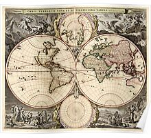 Vintage Map of The World (1690) Poster