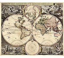 Vintage Map of The World (1690) Photographic Print