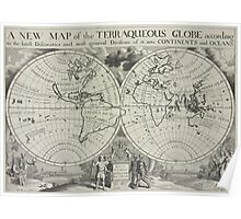 Vintage Map of The World (1700) 2 Poster